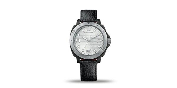 Pánské černo-stříbrné analogové hodinky Hugo Boss Orange