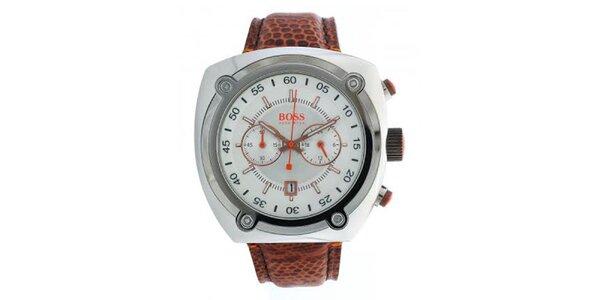 Pánské ocelové hodinky s hnědým koženým řemínkem Hugo Boss