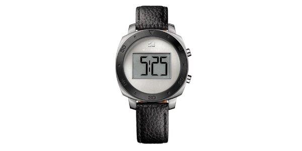 Kulaté digitální hodinky s černým řemínkem Hugo Boss Orange
