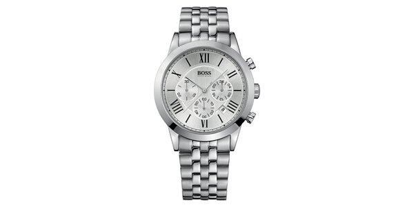 Pánské stříbrné hodinky s římskými číslicemi a chronografem Hugo Boss
