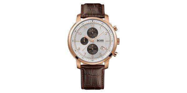 Pánské analogové hodinky s hnědým koženým páskem a chronografem Hugo Boss