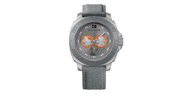Pánské šedé hodinky s oranžovými detaily Hugo Boss Orange