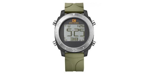 Pánské digitální hodinky se zeleným řemínkem Hugo Boss Orange