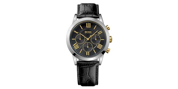 Pánské černé hodinky s chronografem Hugo Boss Orange