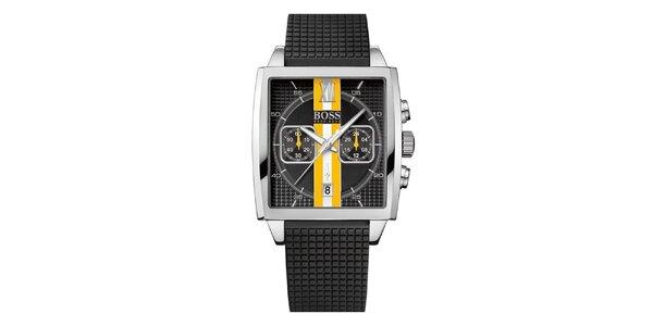 Pánské černé hodinky s oranžovo-bílým proužkem Hugo Boss Orange