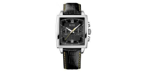 Pánské hranaté stříbrné hodinky s chronografem Hugo Boss Orange