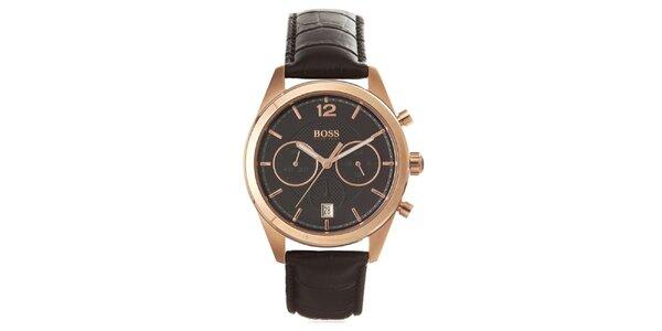 Pánské analogové hodinky s černým páskem, chronografem a pozlaceným pouzdrem…