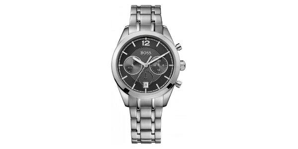 Pánské ocelové hodinky s černým ciferníkem a chronografem Hugo Boss