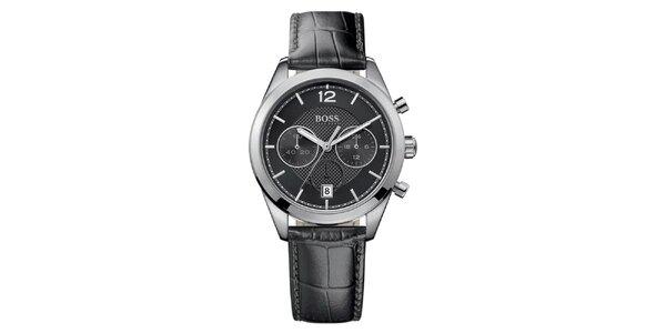 Pánské analogové hodinky s černým páskem a chronografem Hugo Boss