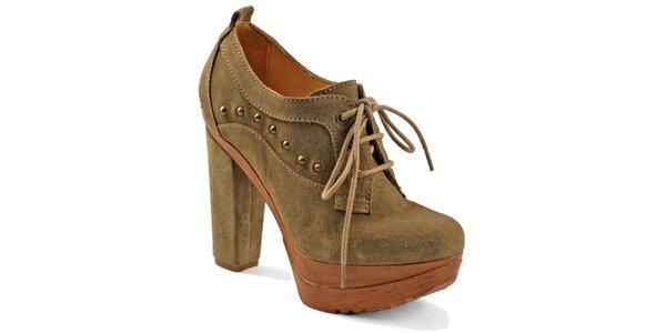 Dámské béžové šněrovací boty na platformě Red Hot