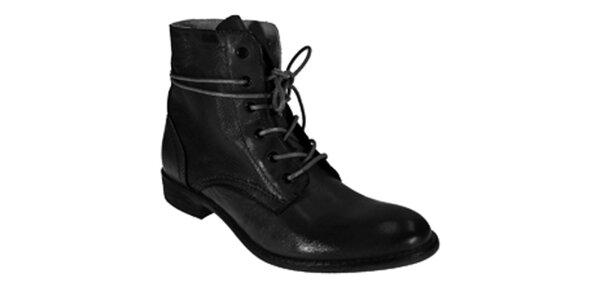 Dámské černé kotníkové šněrovací boty Red Hot