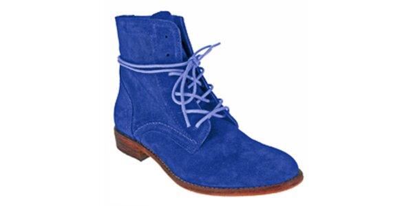Dámské modré kotníkové šněrovací boty Red Hot