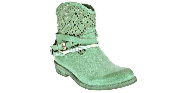 Dámské světle zelené boty z kůže Red Hot