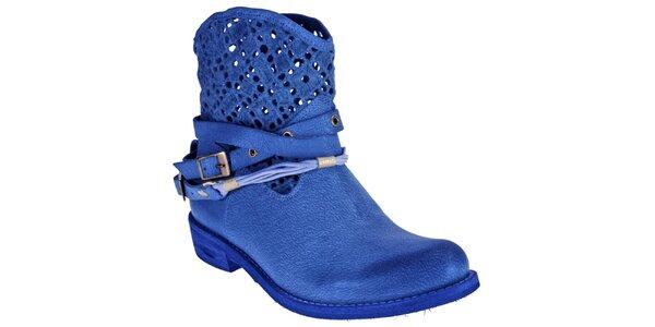 Dámské sytě modré boty z kůže Red Hot