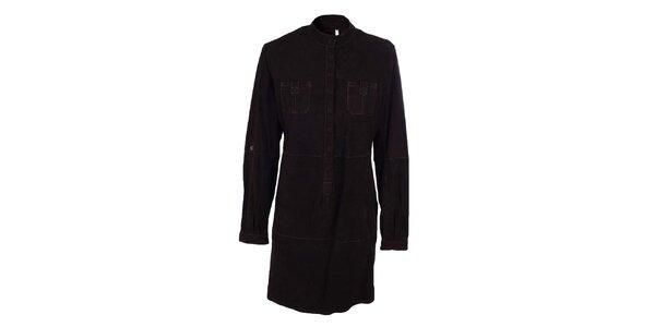 Dámské tmavě hnědé košilové semišové šaty Company&Co