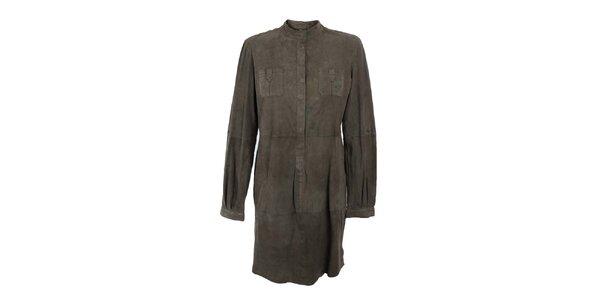 Dámské khaki košilové semišové šaty Company&Co