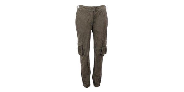 Dámské khaki semišové kalhoty Company&Co