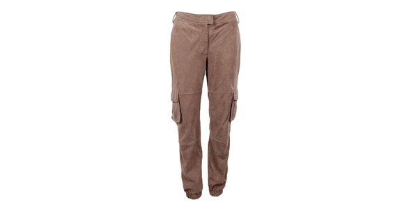 Dámské světle hnědé semišové kalhoty Company&Co