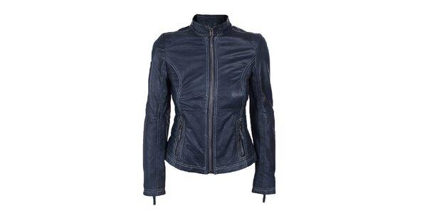Dámská modrá kožená bundička s prošíváním Company&Co