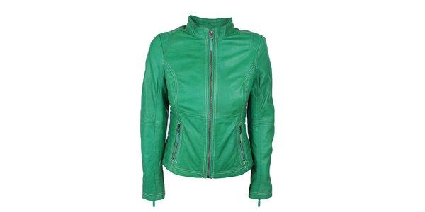 Dámská zelená kožená bundička s prošíváním Company&Co