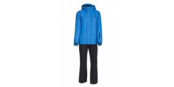 Dívčí lyžařská souprava Envy - černé kalhoty a modrá bunda