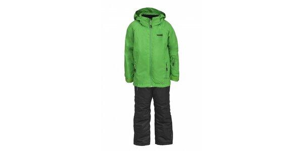 Dívčí lyžařská souprava Envy - černé kalhoty a zelená bunda