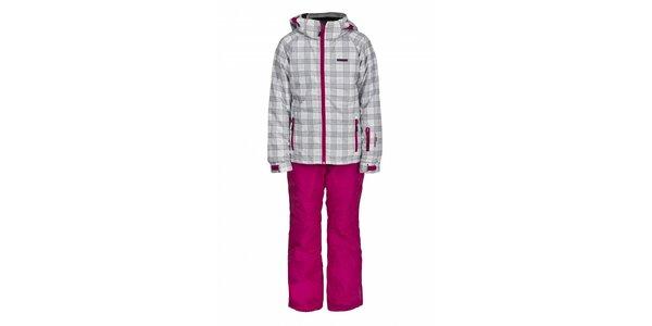 Dětská lyžařská souprava Envy - růžové kalhoty a bílá kostkovaná bunda