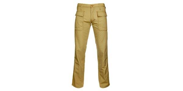Pánské béžové kalhoty s velkými kapsami Freesoul
