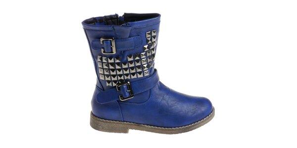 Dámské sytě modré boty Maria Barcelo s pyramidkami