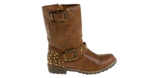 Dámské velbloudí boty Maria Barcelo se zlatými cvoky