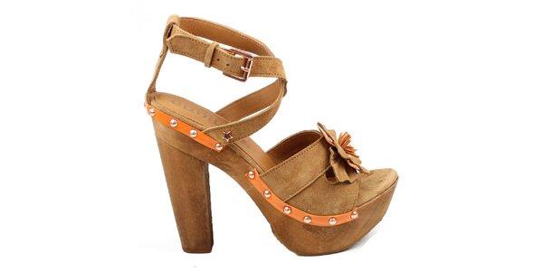 Dámské hnědé střevíčky s kytičkou Cubanas Shoes