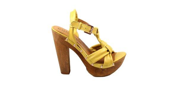 Dámské žluté střevíčky s platformou Cubanas Shoes