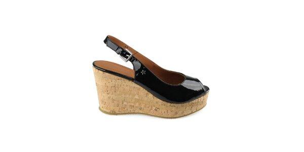 Dámské černé lakované boty na klínku Cubanas Shoes
