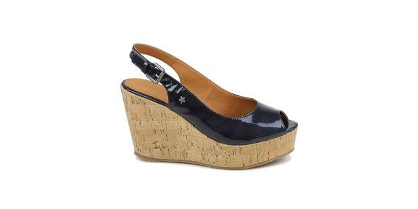 Dámské tmavě modré lakované boty na klínku Cubanas Shoes