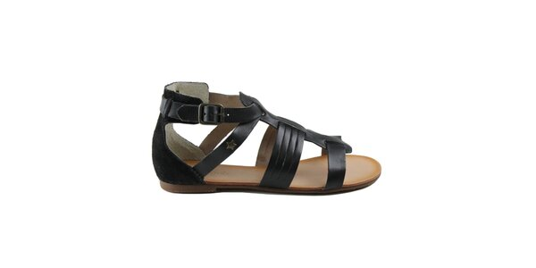Dámské černé páskové boty z kůže Cubanas Shoes