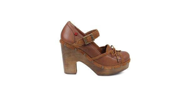 Dámské hnědé lodičky se šněrováním na platformě Cubanas Shoes