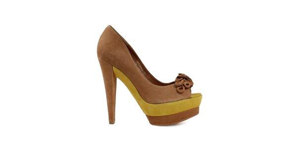 Dámské hnědo-žluté lodičky s otevřenou špičkou Cubanas Shoes