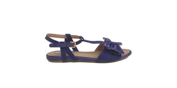 Dámské modrofialové sandálky s mašlí Cubanas Shoes a7ec055448