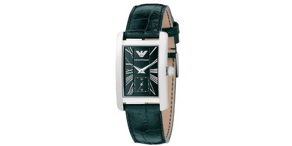 Pánské hranaté hodinky s černým páskem Emporio Armani