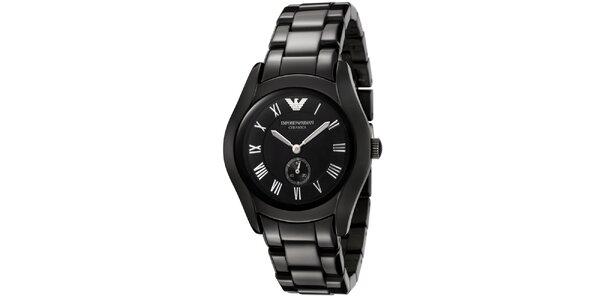 Černé keramické hodinky Emporio Armani