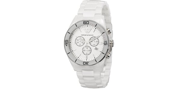 Stříbrné hodinky s bílým řemínkem Emporio Armani