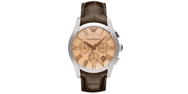Pánské hodinky s chronografem a hnědým řemínkem Emporio Armani