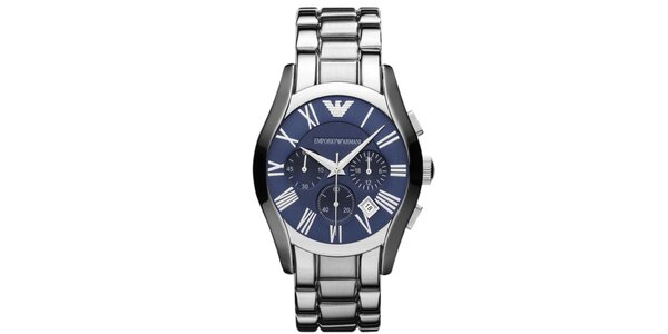 Pánské stříbrné hodinky s modrým ciferníkem Emporio Armani