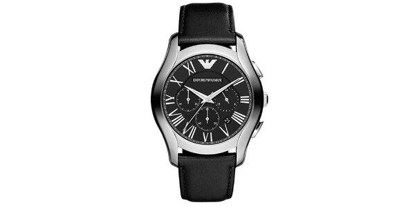 Pánské analogové hodinky s chronografem v černé barvě Emporio Armani