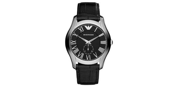 Pánské stříbrné hodinky s koženým řemínkem Emporio Armani