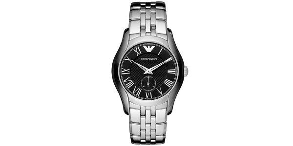 Pánské stříbrné hodinky s černým ciferníkem Emporio Armani