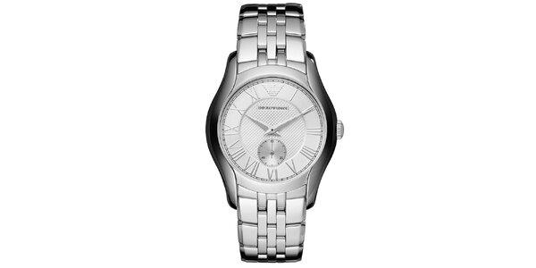 Stříbrné hodinky s římskými číslicemi Emporio Armani