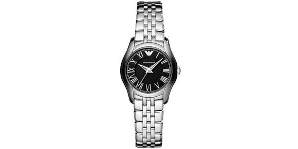 Dámské stříbrné hodinky s černým ciferníkem Emporio Armani