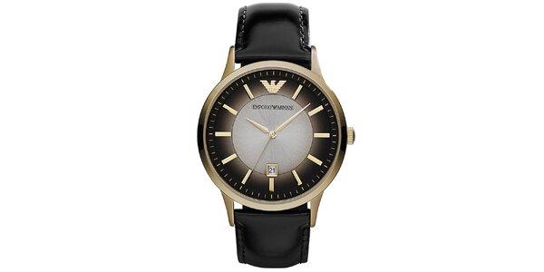 Pánské zlaté hodinky Emporio Armani se stínovaným ciferníkem