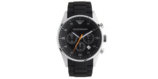 Černé kulaté hodinky s oranžovou vteřinovkou Emporio Armani